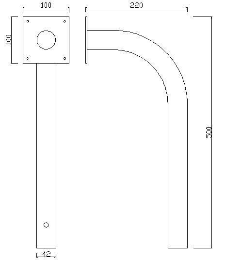КГ-500 чертеж Г-образный кронштейн для ИК барьера Optex