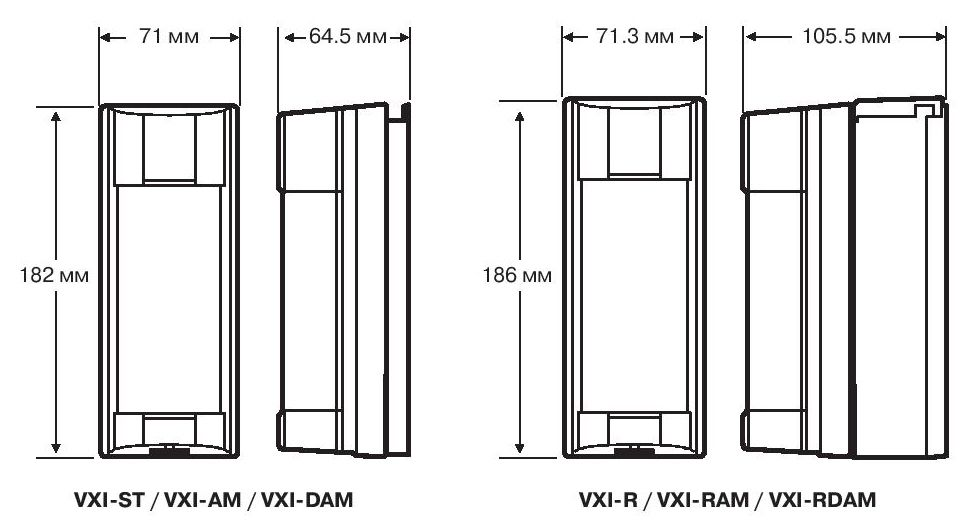 Размеры OPTEX VXI-ST, VXI-AM, VXI-DAM, VXI-R, VXI-RAM, VXI-RDAM